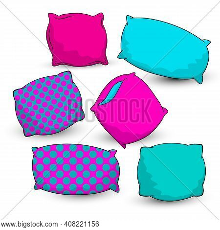 Sketch Vector Illustration Of Colorful Pillow. Big Set. Outline Elements Of The Bedroom And Bed For