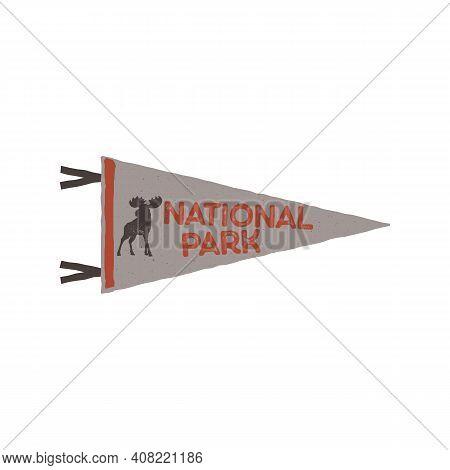 National Park Pennant, Camping Adventure Emblem Illustration Design. Vintage Outdoor Label With Moos
