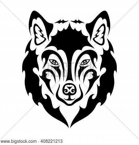Hand Drawn Abstract Portrait Of A Wolf. Vector Stylized Illustration For Tattoo, Logo, Wall Decor, T