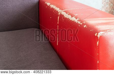 Torn And Battered Leather Back Of The Sofa. Poor Quality Leather, Leather Cleansing And Restoration,