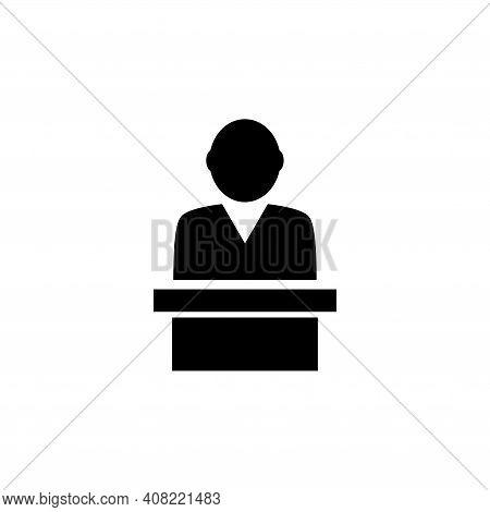 Speaker On Tribune, Political Spokesman. Flat Vector Icon Illustration. Simple Black Symbol On White