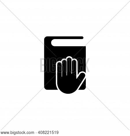 Taking Oath, Hand On Constitution Or Bible. Flat Vector Icon Illustration. Simple Black Symbol On Wh