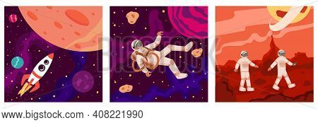 Set Of Space And Astronauts. Rocket Flies Towards The Moon. Astronaut In Outer Space. Two Astronauts