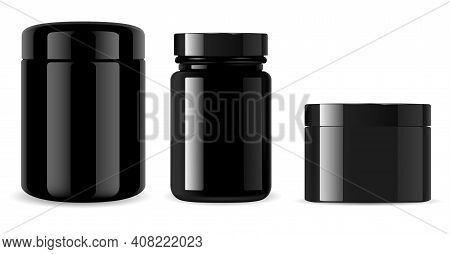 Black Jar. Black Glass Cosmetic Bottle Glossy Mockup. Glossy Plastic Container Isolated On Backgroun