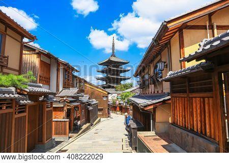 Kyoto, Japan - August 7, 2019: Yasaka Pagoda and Sannen Zaka Street at higashiyama district in Kyoto, Japan