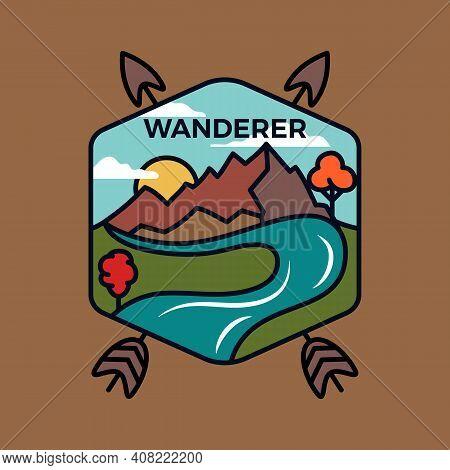 Vintage Wanderer Logo Emblem Template, Adventure Badge Design With Mountains, Arrows And River. Unus