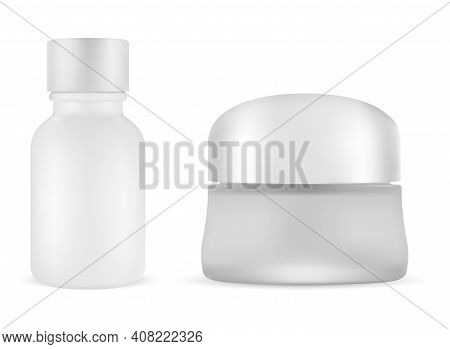White Cosmetic Cream Jar. Serum Vial Blank Set. Matte Glass Butter Packaging Container With Plastic