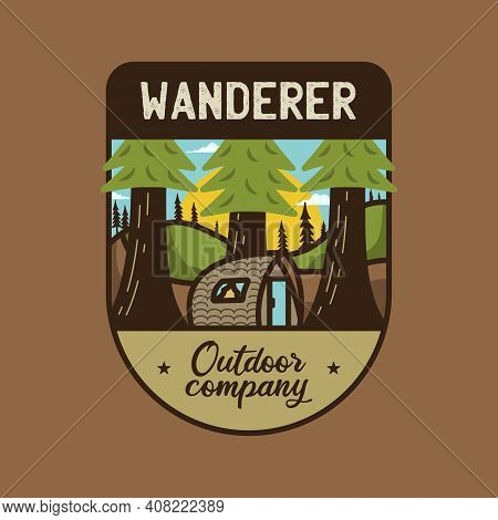 Vintage Wanderer Logo, Outdoor Company Emblem Design With Trees And Cabin. Unusual Line Art Retro Ad