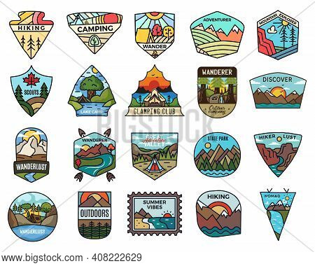 Camping Adventure Badges Logos Set, Vintage Travel Emblems. Hand Drawn Stickers Designs Bundle. Disc