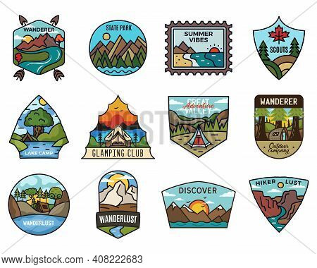 Travel Adventure Logos Collection, Vintage Camping Emblems. Hand Drawn Hiking Emblems, Mountain Stic