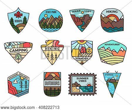 Camping Adventure Logos Set, Vintage Travel Emblems. Hand Drawn Hiking Badges, Mountain Stickers Des