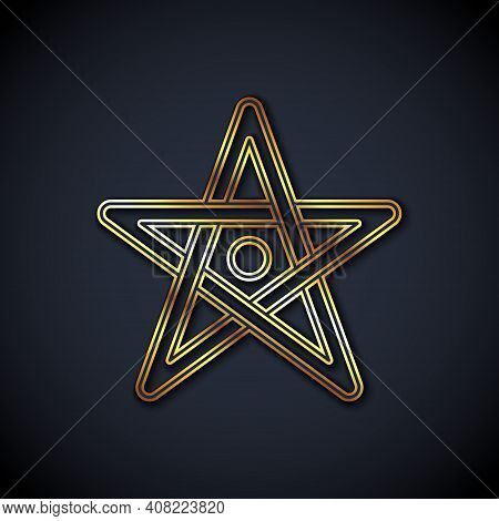 Gold Line Pentagram Icon Isolated On Black Background. Magic Occult Star Symbol. Vector
