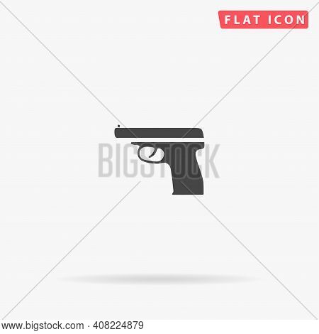 Handgun Flat Vector Icon. Hand Drawn Style Design Illustrations.