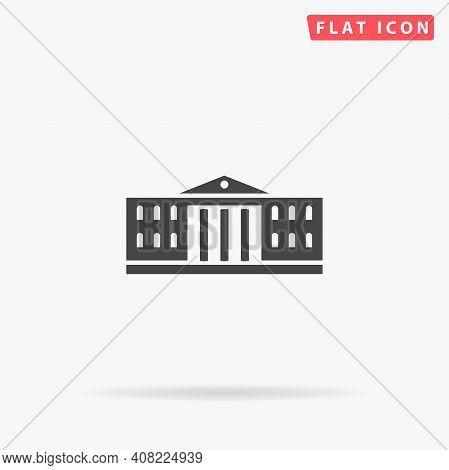 University Building Flat Vector Icon. Hand Drawn Style Design Illustrations.