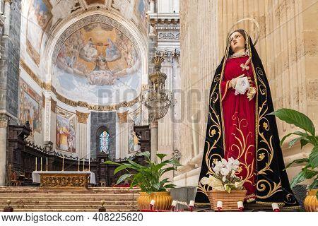 Catania, Italy - March 3, 2020: Catania Cathedral interior. Metropolitan Cathedral of Saint Agatha at Duomo square in Catania, Sicily