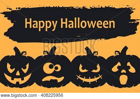 Happy Halloween Background Or Banner With Crazy, Spooky And Funny Pumpkins. Vector Illustration