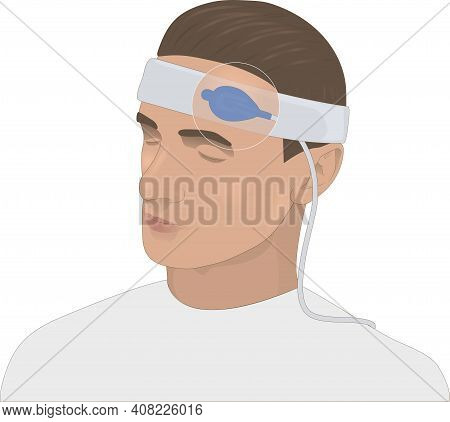 Forehead Pulse Oximeter, Illustration. A Pulse Oximeter, Also Known As A Blood Oxygen Meter, Measure