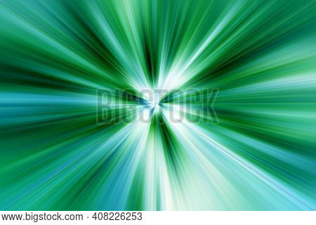 Abstract Surface Of Radial Blur Zoom   In Blue, Green,  White Tones. Bright   Colorful Green Backgro