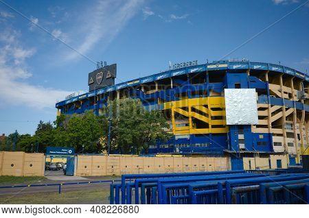 Buenos Aires, Argentina - January, 2020: View To The La Bombonera Football Stadium Of Boca Juniors F