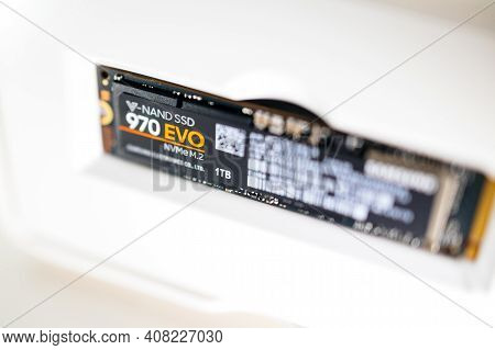 London, United Kingdom - Jan 18, 2019: Tilt-shift Focus Photo Of New Fast Samsung 970 Evo Nvme M2 1t