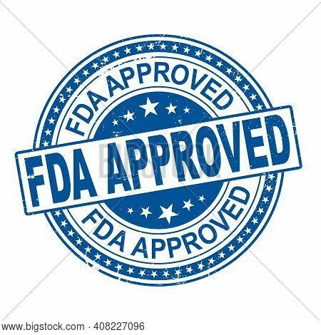 Fda Approved. Stamp. Sticker. Seal. Round Grunge Vintage Ribbon Fda Approved Sign