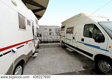 Campers And Recreation Vehicles At Camper Site
