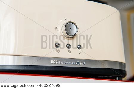 Paris, France - Feb 1, 2021: Hero Object Of New Kitchenaid 5kmt4116eac Toaster Luxury Product With 2