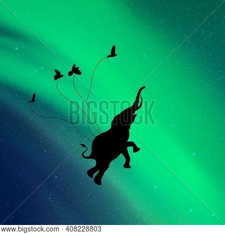 Flying Elephant And Birds Silhouettes In Sky At Night. Aurora Borealis