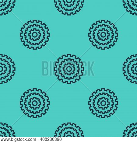 Black Line Bicycle Cassette Mountain Bike Icon Isolated Seamless Pattern On Green Background. Rear B