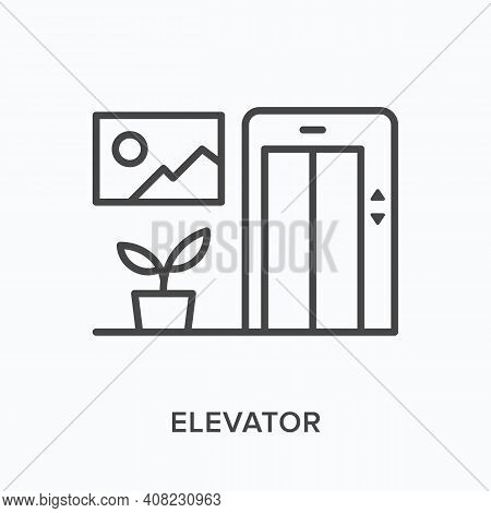 Elevator Flat Line Icon. Vector Outline Illustration Of Plant, Picture And Doors. Black Thin Linear
