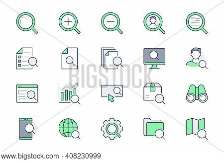 Search Simple Line Icons. Vector Illustration With Minimal Icon - Analysis, Spyglass Lens, Loupe, Ge