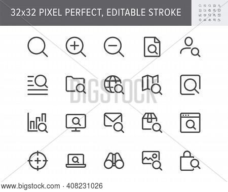 Search Simple Line Icons. Vector Illustration With Minimal Icon - Lupe, Analysis, Lens, Loupe, Targe