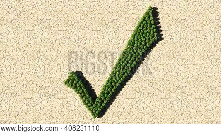 Concept or conceptual group of green forest tree on dry ground background as sign of checkmark. A 3d illustration metaphor for quality, validation, achievement, success and unity