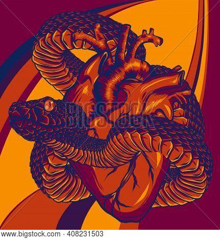 Colorful Tattoo Snake Around Heart Vector Illustration