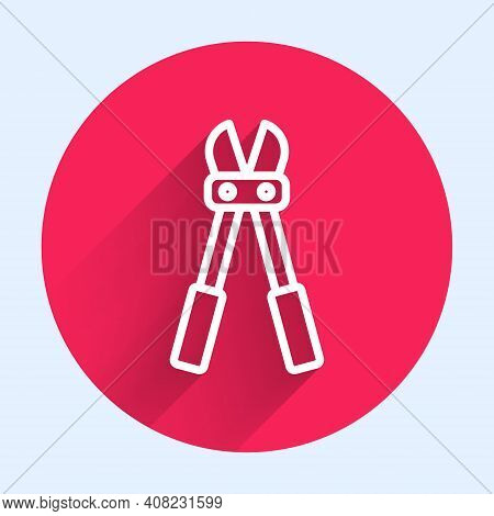 White Line Bolt Cutter Icon Isolated With Long Shadow. Scissors For Reinforcement Bars Tool. Red Cir