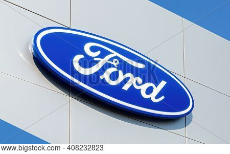 Samara, Russia - April 20, 2019: Ford Logo On The Office Of Official Dealer. Ford Motor Company Is A