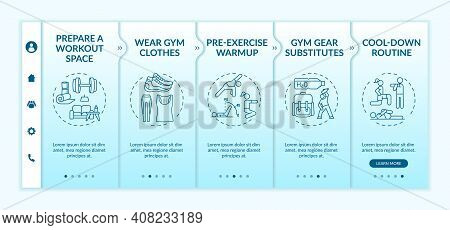 Home Physical Training Tips Onboarding Vector Template. Gym Clothes. Gear Substitutes. Cool-down Rou