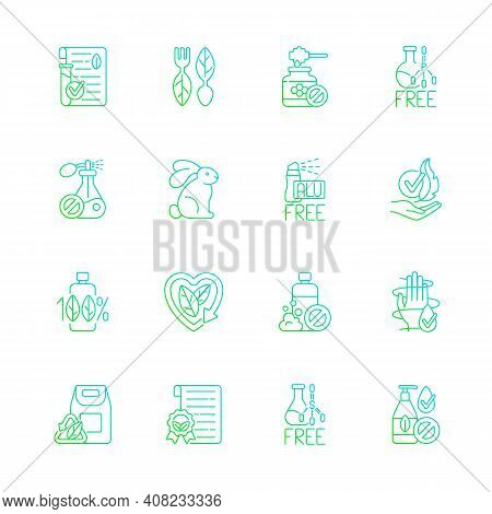 Natural Cosmetic Gradient Linear Vector Icons Set. Harmful Chemical Additives. Ecofriendly. Silhouet