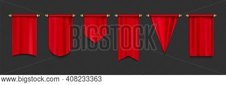 Red Pennant Flags Mockup, Blank Hanging Banners With Rounded, Concave, Pointed And Double Edges. Med