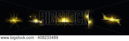 Gold Light, Sun Radiant, Golden Line, Sunburst Isolated On Black Background. Dusk Or Dawn Bursting R