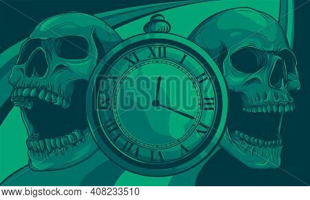 Pocket Watch With Human Skull. Illustration Line Art.