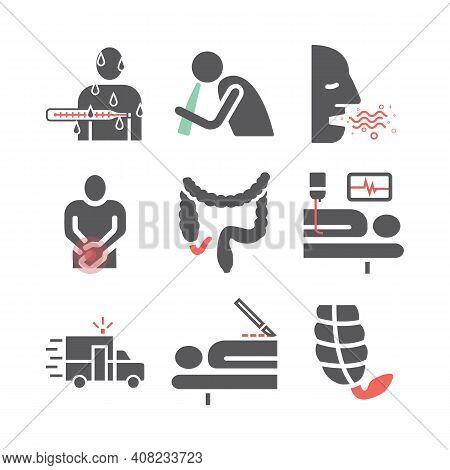 Appendicitis. Symptoms, Treatment. Line Icons Set. Vector Signs For Web Graphics.