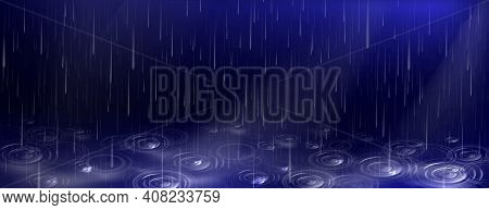 Rain, Falling Water Drops And Puddle Ripples On Dark Blue Background. Shower Droplets, Storm Or Down