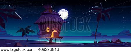Beach Hut Or Bungalow At Night On Tropical Island, Summer Shack With Glow Window Under Full Moon Sta