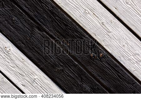 Wooden Background. Detail Of Old Wooden Gates, Doors With Cracked Paint. Green And White Old Wooden
