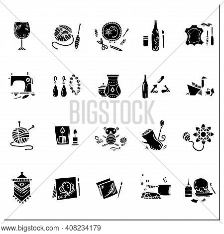 Craft Hobby Set Glyph Icons. Handmade And Homemade Concept. Consist Of Sewing, Etching, Bottle Paint