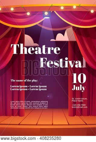 Theater Festival Cartoon Poster With Backstage Red Curtains And Wooden Scene With Glowing Spotlights