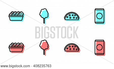 Set Line Taco With Tortilla, Chicken Nuggets In Box, Cotton Candy And Soda Straw Icon. Vector
