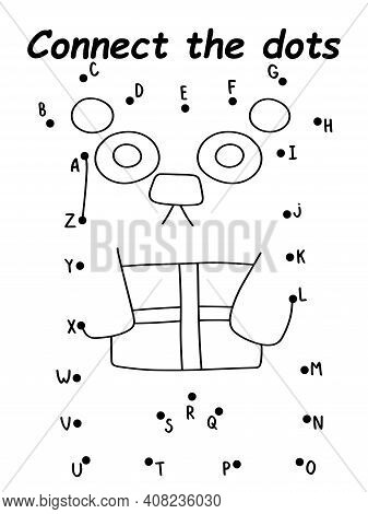 Dot-to-dot Game With Bear  Stock Vector Illustration. Simple Bear With Gift Box Activity Page For Ki