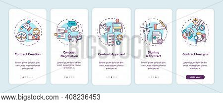 Contract Lifecycle Steps Onboarding Mobile App Page Screen With Concepts. Contract Creation Walkthro